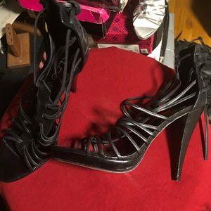 Aldo Shoes - Black leather strappy heals